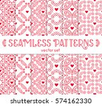 seamless pattern with hearts.... | Shutterstock .eps vector #574162330