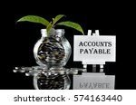 Small photo of Business Concept - Money in glass container with tree and white board written Accounts Payable