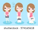 cute cartoon woman feel... | Shutterstock .eps vector #574165618