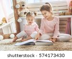 two cute little children are...   Shutterstock . vector #574173430