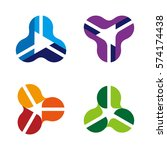 triangle looped logo template.... | Shutterstock .eps vector #574174438
