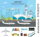 airport passenger terminal and... | Shutterstock .eps vector #574182073