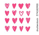 set of hand drawn hearts.... | Shutterstock .eps vector #574183900