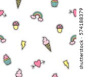 cute objects seamless pattern.... | Shutterstock .eps vector #574188379