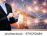smart business woman use... | Shutterstock . vector #574192684