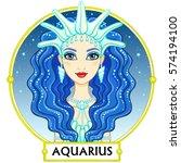 zodiac sign aquarius. fantastic ... | Shutterstock .eps vector #574194100