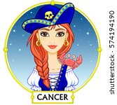zodiac sign cancer. fantastic... | Shutterstock .eps vector #574194190