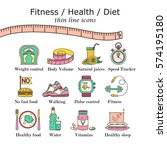 weight loss  diet icons set.... | Shutterstock .eps vector #574195180