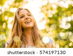 portrait od smiling young woman ... | Shutterstock . vector #574197130