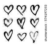 set of hand drawn hearts. | Shutterstock . vector #574197253