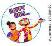 indian people celebrating... | Shutterstock .eps vector #574200490