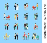 married couple people life set... | Shutterstock .eps vector #574202170