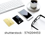 credit card  keyboard ... | Shutterstock . vector #574204453