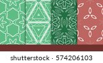 set of decorative floral... | Shutterstock .eps vector #574206103