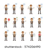 big set of cowboy characters... | Shutterstock .eps vector #574206490