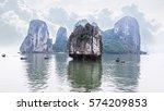 tourist junks floating among... | Shutterstock . vector #574209853