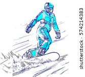 sketch of snowboarder woman on... | Shutterstock .eps vector #574214383