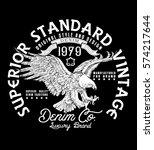 Stock vector superior standard vintage denim company vector heritage vector design 574217644