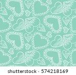 cute seamless pattern. a heart. ... | Shutterstock .eps vector #574218169