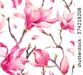 watercolor floral spring... | Shutterstock . vector #574218208