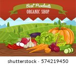 organic shop banner with... | Shutterstock .eps vector #574219450