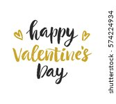 happy valentines day hand drawn ... | Shutterstock . vector #574224934