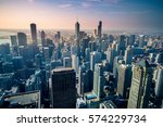aerial view of chicago city... | Shutterstock . vector #574229734