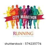 running marathon  people run ... | Shutterstock .eps vector #574235776