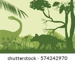 dinosaurs green silhouettes ...   Shutterstock .eps vector #574242970