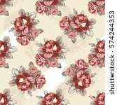 seamless floral pattern with... | Shutterstock .eps vector #574244353