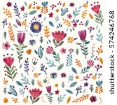 Stock vector hand drawn background with flowers and leaves hand drawn vector pattern hand painted 574246768