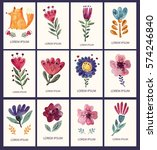 Vector set of hand drawn cards with fox, flowers and leaves. Hand drawn vector illustrations hand painted