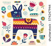 mexican pattern with donkey and ... | Shutterstock .eps vector #574247944