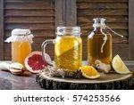 homemade fermented raw kombucha ... | Shutterstock . vector #574253566
