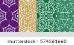 set of decorative floral... | Shutterstock .eps vector #574261660