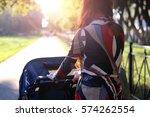 women walk stroller summer...   Shutterstock . vector #574262554
