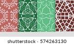 set of flower  geometric...   Shutterstock .eps vector #574263130