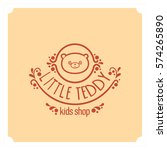 kids shop logo with teddy bear. ... | Shutterstock .eps vector #574265890