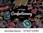 frame made of sweets and... | Shutterstock .eps vector #574271944