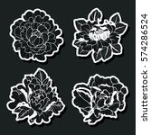 vector black and white peonies... | Shutterstock .eps vector #574286524