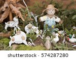 scarecrow with goats and ducks | Shutterstock . vector #574287280
