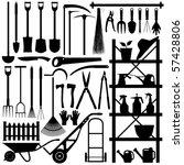 gardening tools silhouette | Shutterstock .eps vector #57428806