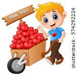Cartoon Boy Pushing A Pile Of...