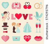 vector set of happy wedding and ... | Shutterstock .eps vector #574293796