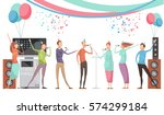 karaoke party concept with... | Shutterstock .eps vector #574299184