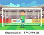 soccer goalkeeper keeping goal... | Shutterstock .eps vector #574299640