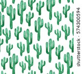 pattern with cactus. watercolor ... | Shutterstock . vector #574300594