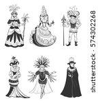 set of six vector characters.... | Shutterstock .eps vector #574302268