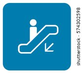 down escalator sign blue.... | Shutterstock .eps vector #574302598