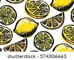 hand drawn pattern with lemon... | Shutterstock .eps vector #574306663